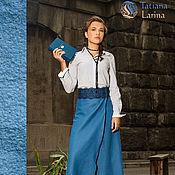 Одежда ручной работы. Ярмарка Мастеров - ручная работа Длинная юбка, шерстяная юбка в пол, синяя юбка с запахом. Распродажа. Handmade.