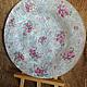 тарелка, тарелки, тарелка декупаж, тарелки декупаж, белая тарелка, белая тарелочка, тарелка с розами, тарелка ручной работы, тарелка обратный декупаж, купить тарелки в москве