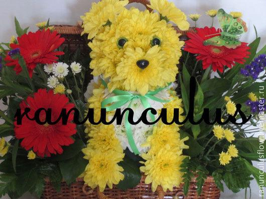 """Букеты ручной работы. Ярмарка Мастеров - ручная работа. Купить Собака из живых цветов """"Пес Банан"""". Handmade. Комбинированный"""