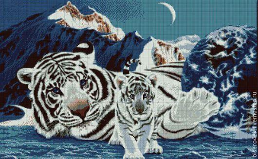 """Вышивка ручной работы. Ярмарка Мастеров - ручная работа. Купить Алмазная мозаика """"Белый тигр"""", Россия. Handmade. Набор для творчества"""