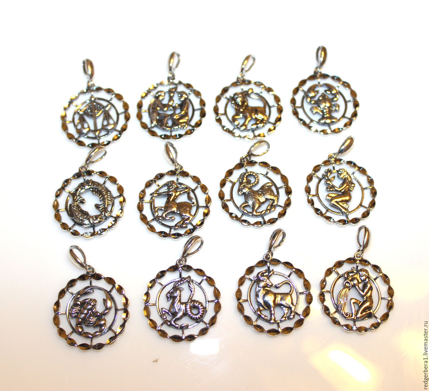 Pendants with diamond face signs of the zodiac silver 925 – shop