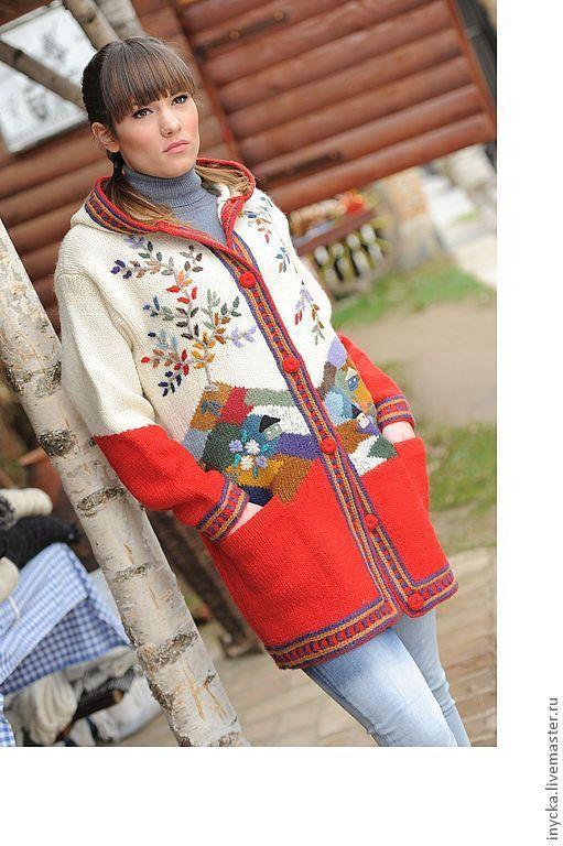 Верхняя одежда ручной работы. Ярмарка Мастеров - ручная работа. Купить Вязаное пальто W1. Handmade. Рисунок, белый