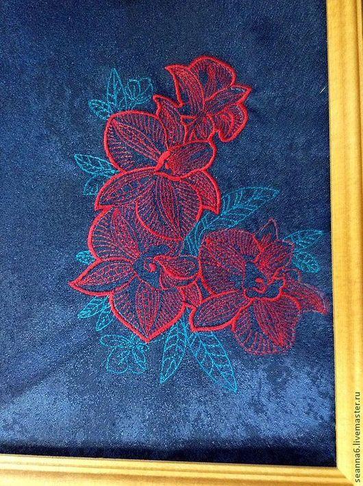 """Картины цветов ручной работы. Ярмарка Мастеров - ручная работа. Купить Вышивка на одежде, аппликация, картинка, картина """"И снова орхидеи"""". Handmade."""