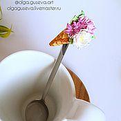"""Посуда ручной работы. Ярмарка Мастеров - ручная работа Ложка с декором """"Рожок с цветами"""". Handmade."""