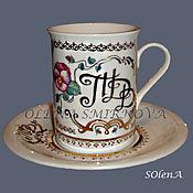 Кружки ручной работы. Ярмарка Мастеров - ручная работа Подарочный именной набор из чашки и блюдца. Handmade.