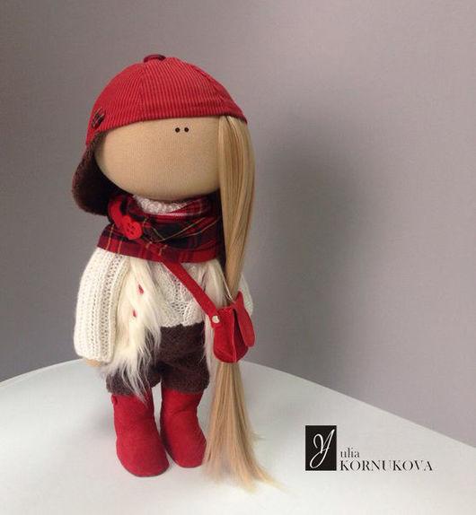 Коллекционные куклы ручной работы. Ярмарка Мастеров - ручная работа. Купить Малышка Кепочка. Интерьерная текстильная кукла.. Handmade. Комбинированный