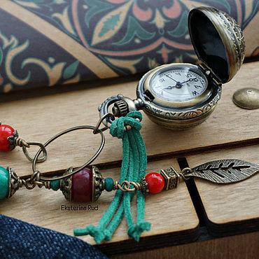 """Украшения ручной работы. Ярмарка Мастеров - ручная работа Карманные часы с натуральными камнями """"Сокровище времени"""". Handmade."""