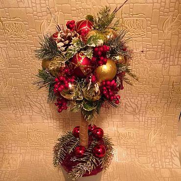 Для дома и интерьера ручной работы. Ярмарка Мастеров - ручная работа Топиарий из новогодних шариков. Handmade.