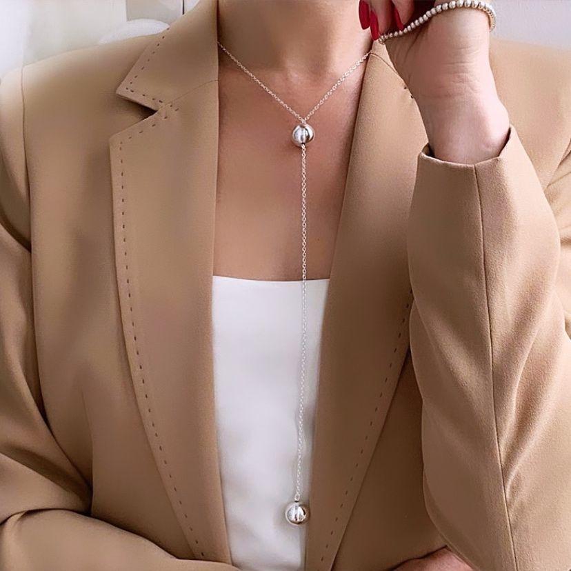 Колье сотуар с шариками в стиле минимализм лаконичность в офис работа, Колье, Ярославль,  Фото №1