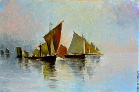 Пейзаж ручной работы. Ярмарка Мастеров - ручная работа. Купить Лодки в море. Handmade. Море, утро, холст на картоне, мастехин