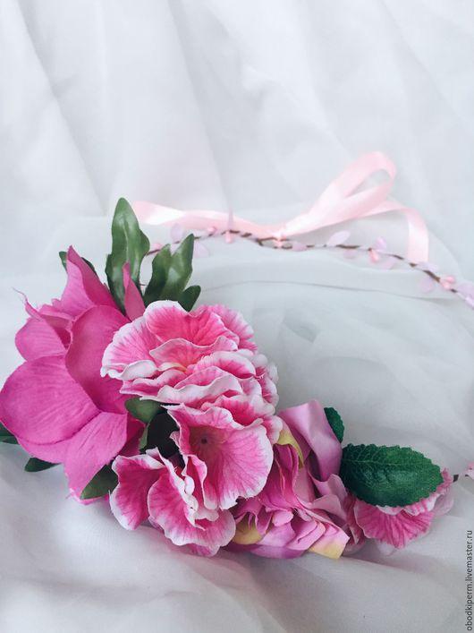 """Диадемы, обручи ручной работы. Ярмарка Мастеров - ручная работа. Купить Цветочный свадебный венок """"Ярко-розовый"""". Handmade. Веночек"""