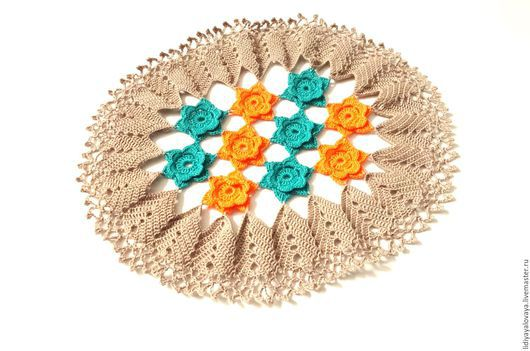 """Текстиль, ковры ручной работы. Ярмарка Мастеров - ручная работа. Купить Салфетка """"Цветочная поляна"""". Handmade. Бежевый, цветочная поляна"""