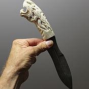 Предметы быта ручной работы. Ярмарка Мастеров - ручная работа Нож Викинг-дракон (дамаск,рог лося)р2. Handmade.