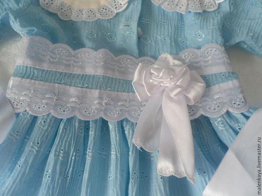 крестильное платье для девочки `Нежность ангела`. Платье на заказ. Платье для малышки. Платье для девочки. Платье из хлопка.