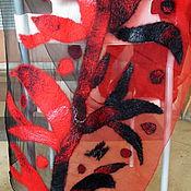 """Аксессуары ручной работы. Ярмарка Мастеров - ручная работа Шарф валяный на шелке """"Красное и черное"""". Handmade."""