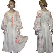 Одежда ручной работы. Ярмарка Мастеров - ручная работа Вышитое льняное длинное платье Украинская вышиванка Платье халат. Handmade.