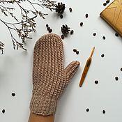 Варежки ручной работы. Ярмарка Мастеров - ручная работа Вязаные варежки крючком с анатомическим пальцем. Handmade.