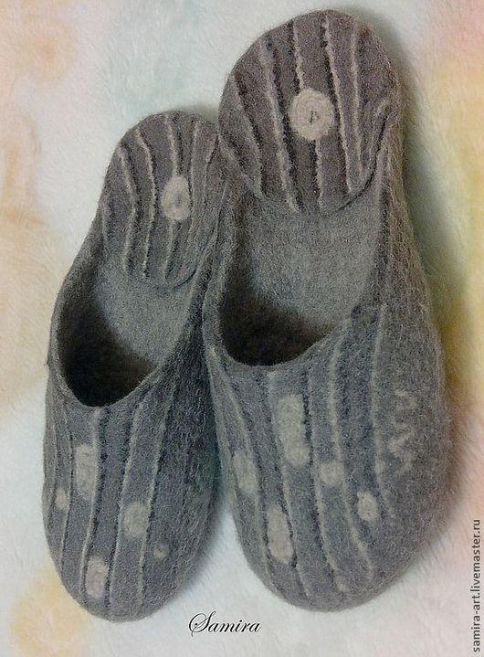 """Обувь ручной работы. Ярмарка Мастеров - ручная работа. Купить Тапочки валяные """"Alonzo"""". Handmade. Серый, тапки, мужские тапочки"""