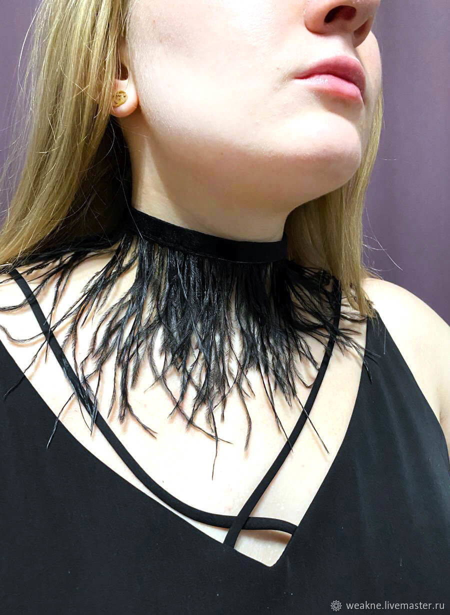A choker made of feathers on a velvet ribbon, Necklace, Moscow,  Фото №1