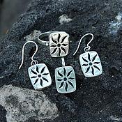 Украшения handmade. Livemaster - original item Earrings, ring and pendant Rock Paintings Sun of silver 925. Handmade.