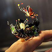 """Украшения ручной работы. Ярмарка Мастеров - ручная работа Крупное цветочное кольцо """"Ночная Лилия"""", ВИДЕО, витражное. Handmade."""
