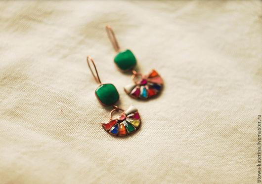 Серьги ручной работы. Ярмарка Мастеров - ручная работа. Купить Серьги Мексика. Handmade. Разноцветный, медные серьги, разноцветные серьги
