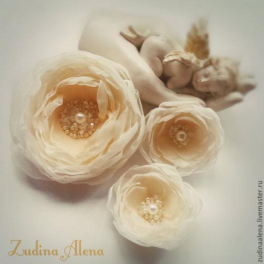 Свадебные украшения ручной работы. Ярмарка Мастеров - ручная работа. Купить Набор Sand Rose нежных цветов из ткани. Handmade.