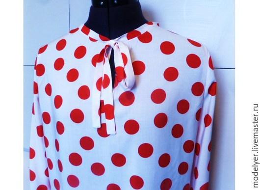 Блузки ручной работы. Ярмарка Мастеров - ручная работа. Купить Блуза 44/46 красный горох на белом. Handmade. В горошек