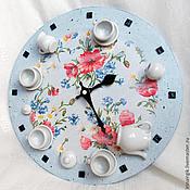 """Для дома и интерьера ручной работы. Ярмарка Мастеров - ручная работа Настенные часы для кухни """"Цветочный чай"""". Handmade."""