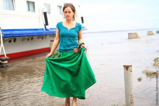 """Юбки ручной работы. Ярмарка Мастеров - ручная работа. Купить Юбка """"Зеленая"""". Handmade. Зеленый, льняная юбка, лён"""