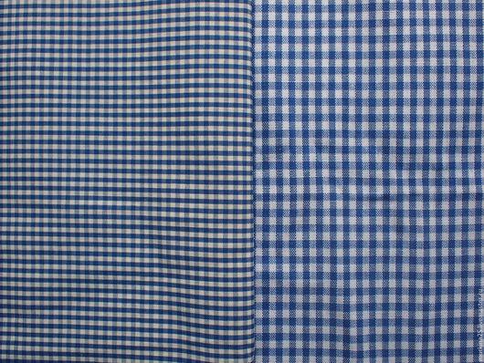 Шитье ручной работы. Ярмарка Мастеров - ручная работа. Купить Ткань в синюю клеточку. Handmade. Тёмно-синий, ткань для творчества