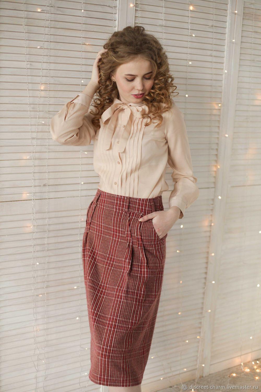 188b6d88a1a Блузки ручной работы. Кремовая блузка из шёлка с вискозой