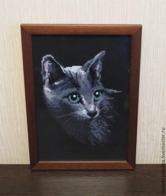 Животные ручной работы. Ярмарка Мастеров - ручная работа. Купить Кошка, русская голубая. Handmade. Кошка, Вышитая картина