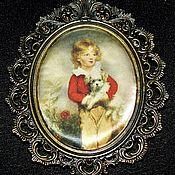 Винтаж handmade. Livemaster - original item Wall panel, silk. Photo frame, bronze, Italy. Handmade.