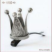 """Украшения ручной работы. Ярмарка Мастеров - ручная работа """"Старая Серебряная Корона с цветом"""" Заколка для волос (невидимка). Handmade."""