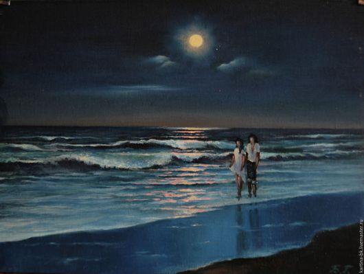 Пейзаж ручной работы. Ярмарка Мастеров - ручная работа. Купить ночь на море. Handmade. Море, луна, комбинированный, холст на картоне