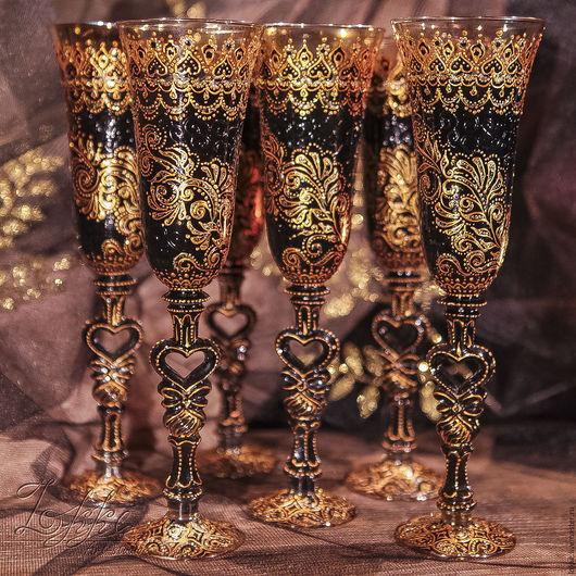 Бокалы, стаканы ручной работы. Ярмарка Мастеров - ручная работа. Купить Бокалы шампанские - готика 6. Handmade. Золотой, готика