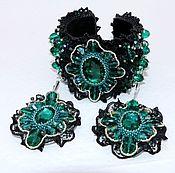 Украшения handmade. Livemaster - original item Jewelry set bracelet and earrings emerald style Dolce. Handmade.