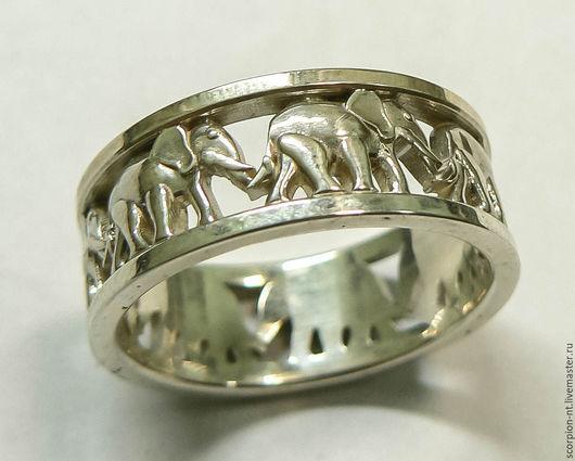 Кольца ручной работы. Ярмарка Мастеров - ручная работа. Купить Кольцо 7 слонов на счастье  серебро р.20. Handmade.