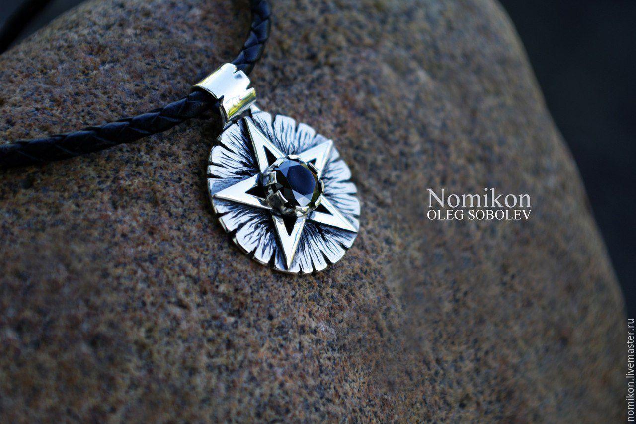 A silver pentagram with a black garnet, Amulet, St. Petersburg,  Фото №1