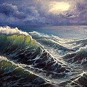 "Картины и панно handmade. Livemaster - original item Seascape oil Painting on canvas ""My first storm"". Handmade."