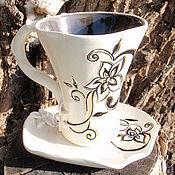 """Посуда ручной работы. Ярмарка Мастеров - ручная работа Чайная пара """"Раннее утро"""". Handmade."""
