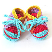 Booties handmade. Livemaster - original item Booties sneakers knitted for girls, red, yellow, blue, orange. Handmade.