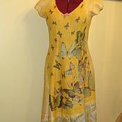 """Одежда ручной работы. Ярмарка Мастеров - ручная работа Валяное платье """" Бабочки """" жёлтое открытая спинка сарафан. Handmade."""