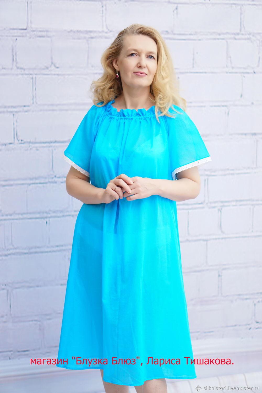 9f5621197470 Ночная сорочка из голубого батиста Олеся, подарок маме – купить в ...