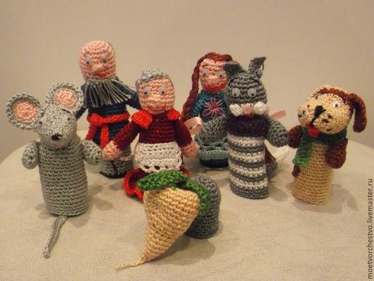"""Развивающие игрушки ручной работы. Ярмарка Мастеров - ручная работа. Купить Пальчиковый кукольный театр """" Репка  """". Handmade."""