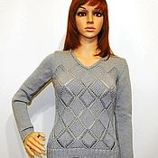 Одежда handmade. Livemaster - original item Knitted sweater with openwork diamonds and beads. Handmade.