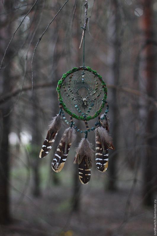 """Ловцы снов ручной работы. Ярмарка Мастеров - ручная работа. Купить Ловец снов """"Дух леса"""". Handmade. Тёмно-зелёный"""