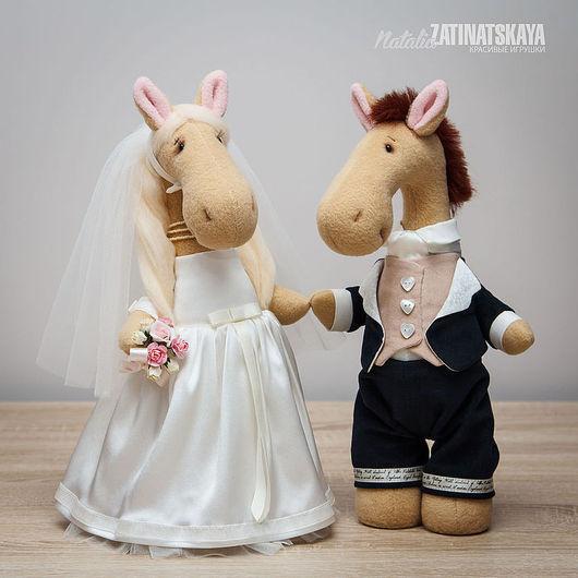 Игрушки животные, ручной работы. Ярмарка Мастеров - ручная работа. Купить Свадебные лошадки, 32-33 см. Handmade. Белый