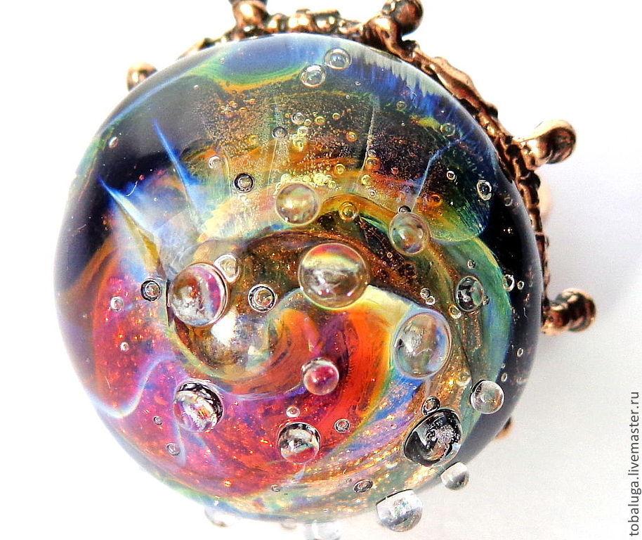 Rings handmade. Livemaster - handmade. Buy Ring time Spiral lampwork technique.Gift, unusual ring, author's lampwork